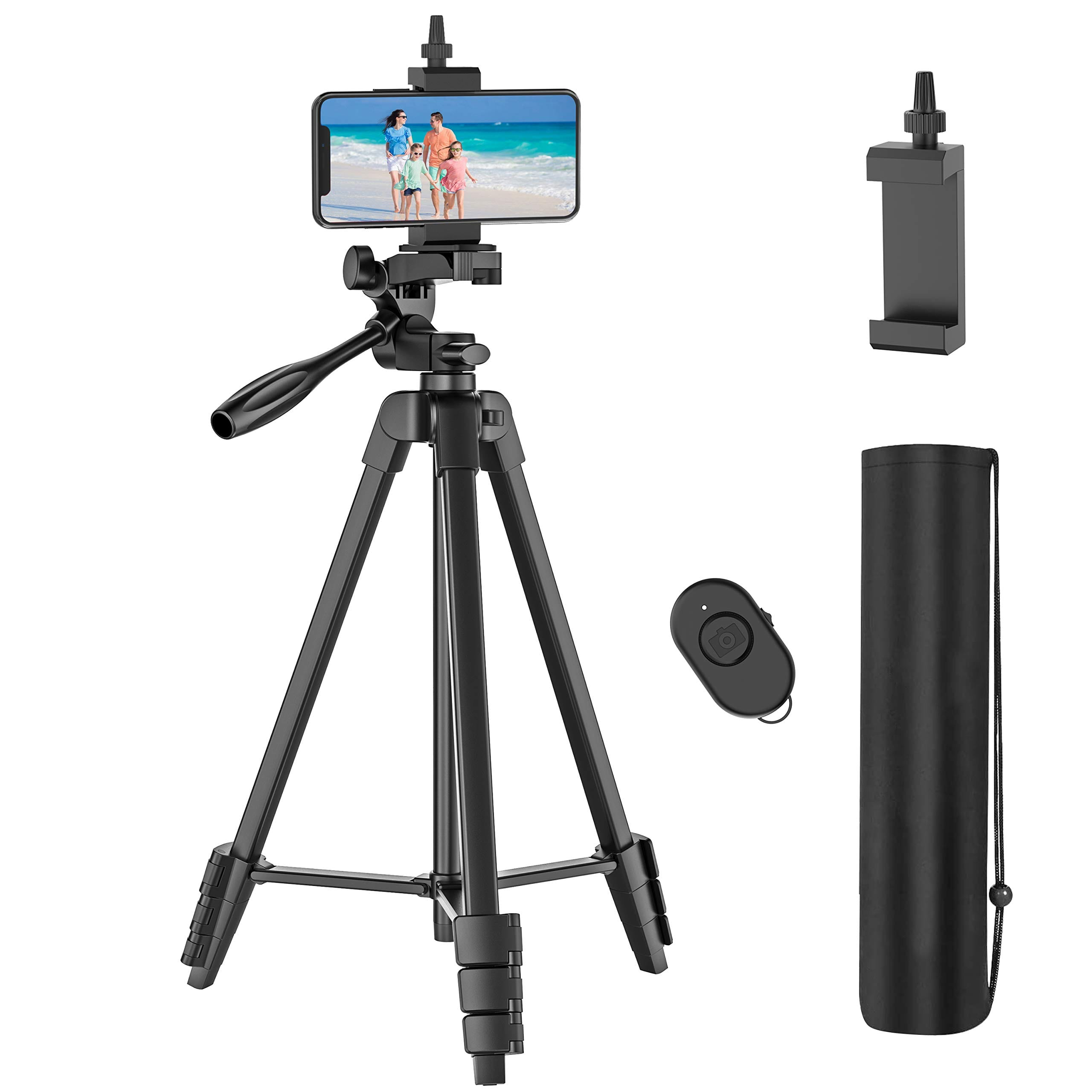 """54"""" Cell Phone Tripod with Rechargeable Remote, Aluminum Lightweight Travel Tripod with Extendable Tripod Stand, Phone Holder and Carry Bag, for Cellphones/GoPro/Digital  - $9.99"""