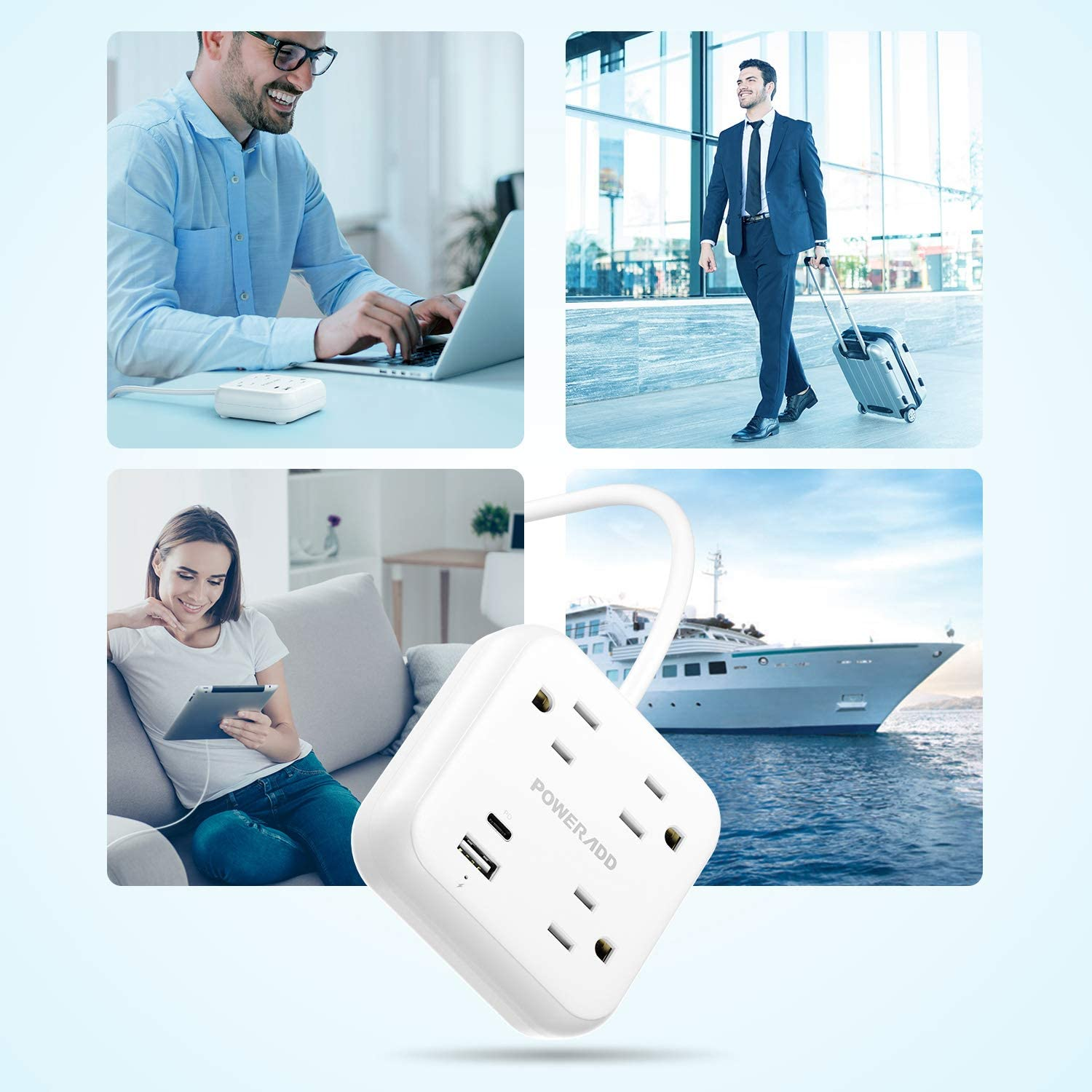 POWERADD Power Strip with USB C Power Delivery 18W, Travel Power Strip with 3 Outlets, 18W USB C & QC 3.0 USB A Port, 5ft Cord, Flat Plug for Cruise Ship, Hotel, Dorm Roo - $9.99