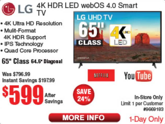 """65"""" inch LG 4K smart TV for $599 at Frys with today's daily email code"""