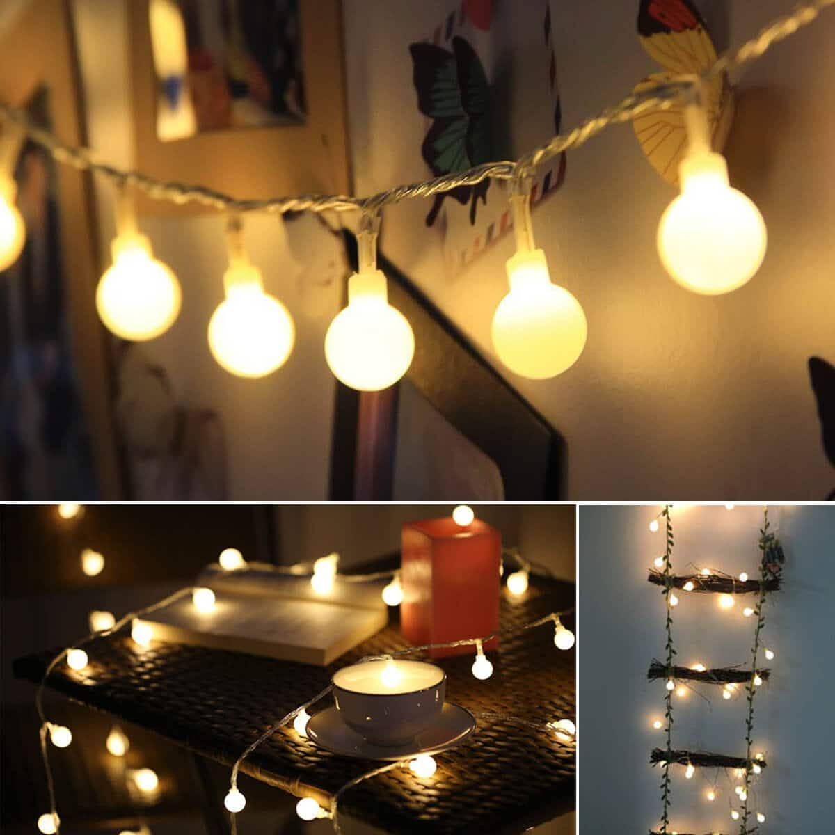 Battery Operated String Lights, 15ft 40 LED Christmas String Lights, 8 Lighting Modes with Timer, Waterproof Globe Fairy String Lights for Christmas Tree on Amazon for $4.49 Prime