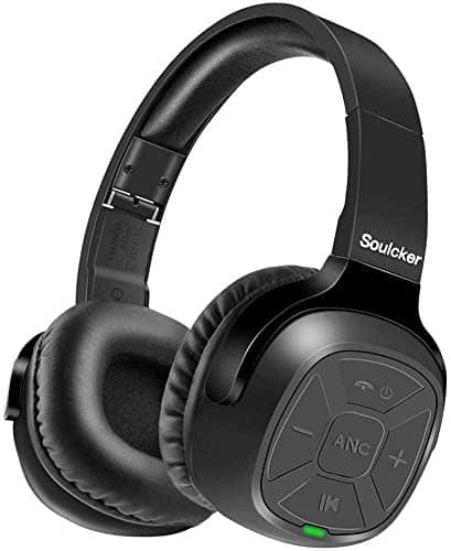 Soulcker Active Noise Cancelling Bluetooth Headphones, Hi-Fi Deep Bass ANC Wireless Headset Over Ear Comfortable Foldable Earpads 30 Hour Playtime for Travel Work TV Gami - $17.99