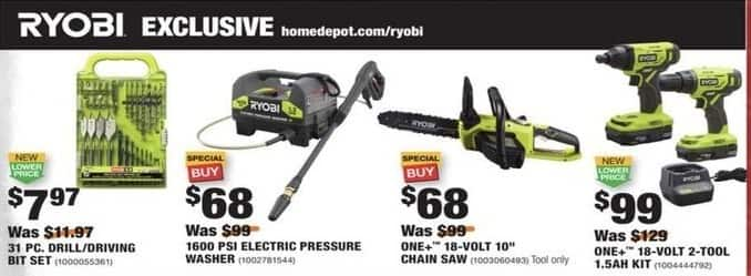 Home Depot Black Friday Ryobi One 18 Volt Cordless 10 Chain Saw For 68 00
