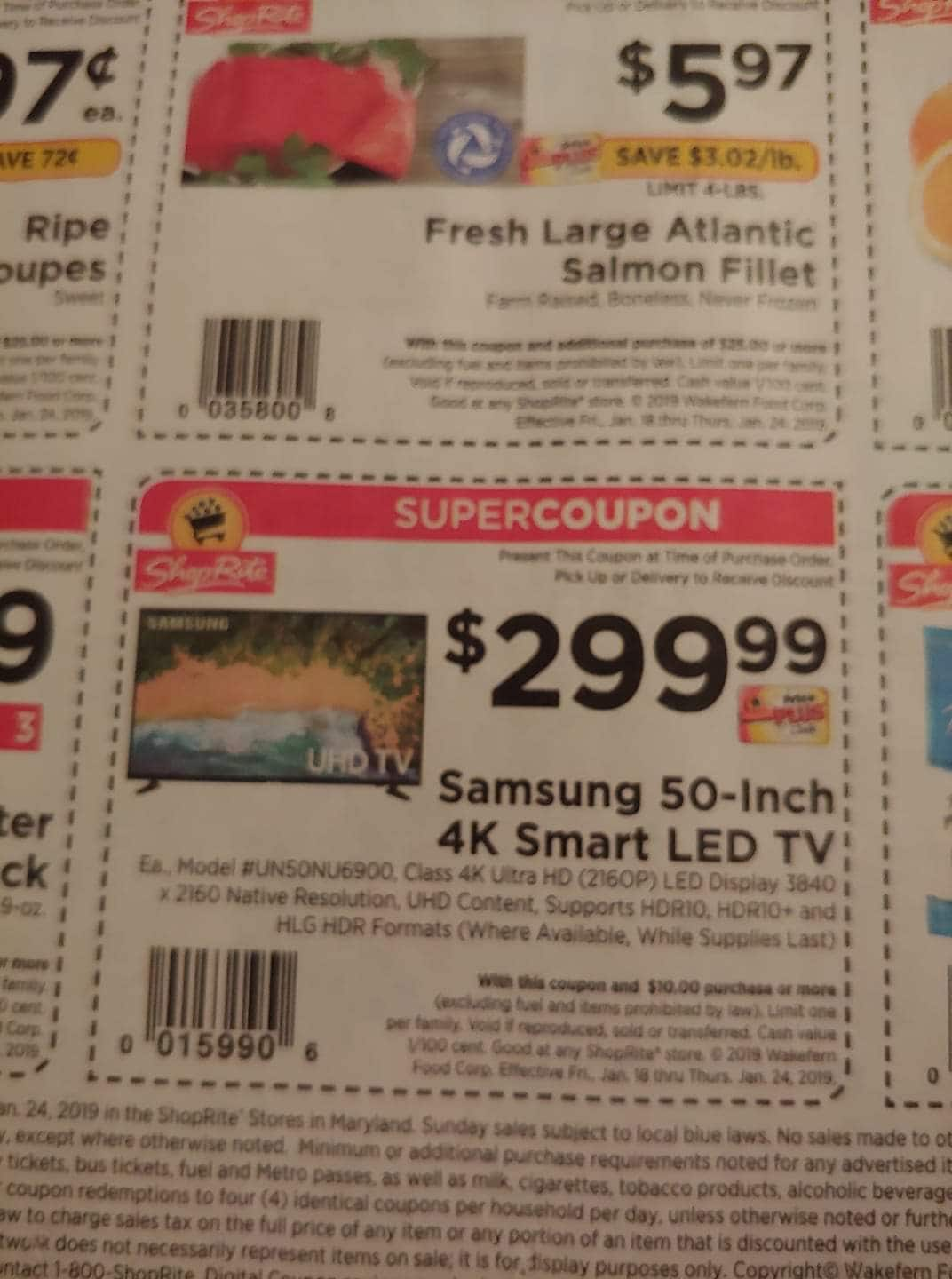 50-inch class Samsung 4k Smart LED TV - $299 at ShopRite B&M with in-circular coupon and PPC card starting 1/20 - 1/26