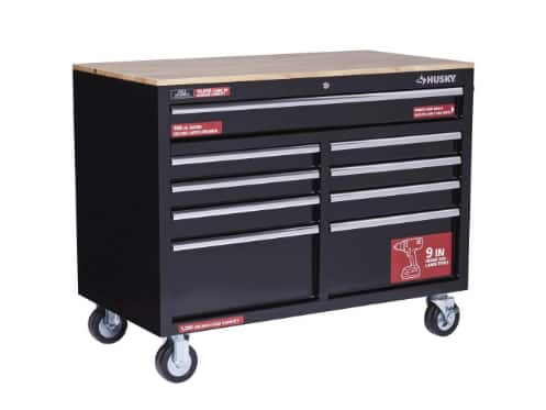 Husky Extra Deep 46 9 Drawer Mobile Workbench W Solid Wood Top