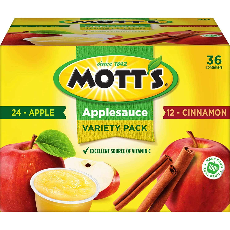 Mott's Apple & Cinnamon Variety Pack Applesauce, 4 Ounce Cup, 36 Count - $12.98 @ Amazon