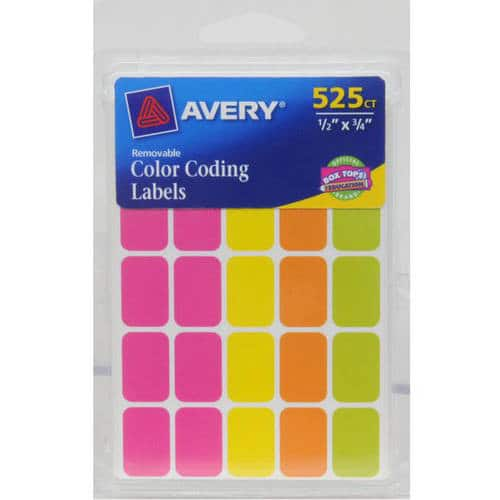 Avery Removable Color Coding Labels, Rectangular, Assorted Colors, Pack of 525 - $1.68 @ Amazon + FSSS