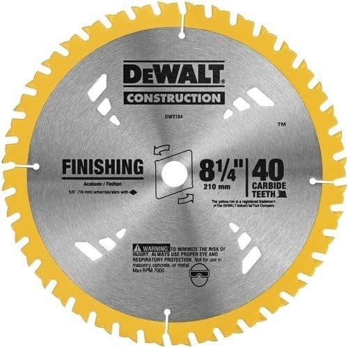 DEWALT Construction 8-1/4-in 40-Tooth Segmented Tungsten Carbide-Tipped Steel Circular Saw Blade - $6.04 @ Lowe's + Free Store Pickup - YMMV?