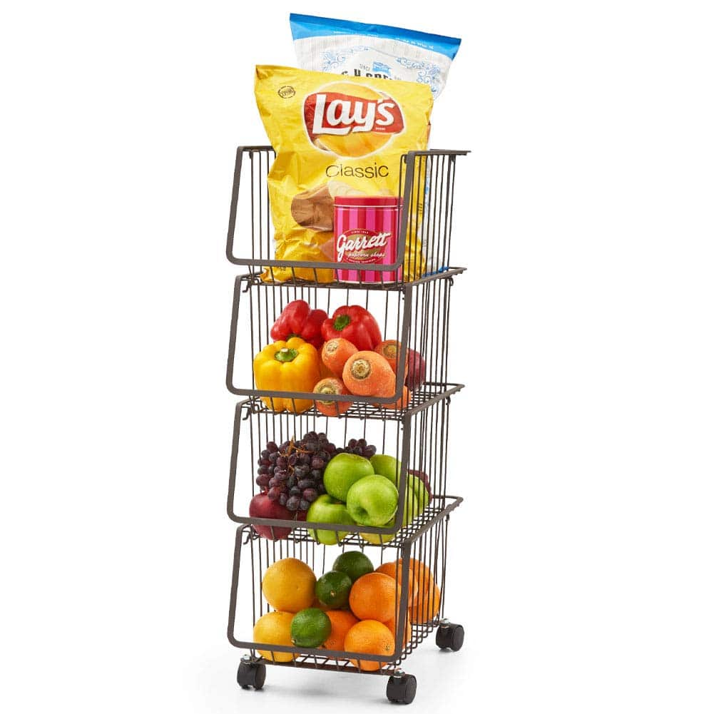EZOWare Metal Wire Baskets, 4-Tier Stackable Basket Organizer Bin Rolling Utility Cart Rack for Kitchen Pantry - Rustic Brown $50.99