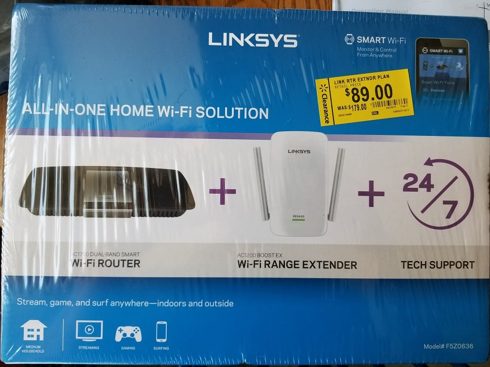 Linksys All in One Home WiFi Solution Smart Router AC1750 + AC1200 Extender $45.00 @ Walmart BM (YMMV)