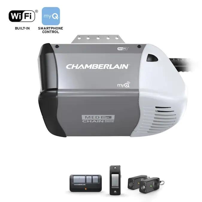 Chamberlain 0.5-HP myQ Smart Chain Drive Garage Door Opener with MyQ and Wi-Fi Compatibility $118.37