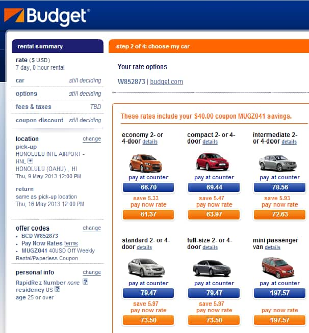 Budget Car Rental for Costco : $40 off 5-day or higher rental + up to 35% off + 1 additional driver fee waived.  Weekly rate in Hawaii seeing $61.37 + tax