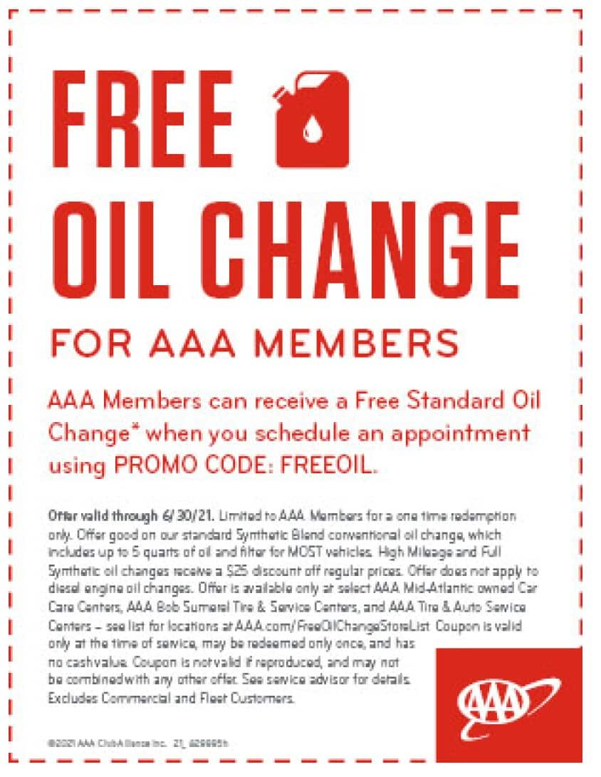 Free Oil Change for Mid-Atlantic AAA Members - AAA Car Care Locations thru 6/30