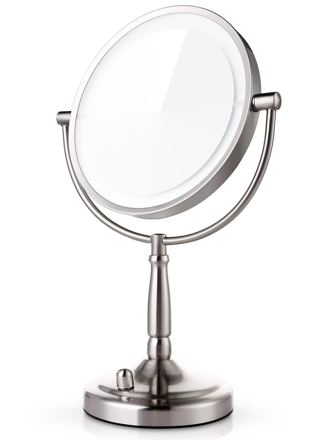 7X Magnifying Lighted Makeup Mirror, 8 Inch Two Sided LED Vanity Mirror, Battery and Adapter only $34.39 from Amazon
