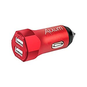 Portable Dual Port Car Charger (Red) with 4.8A Output for Iphone 8/iPad/Samsung S8/S8+ and More $7.99