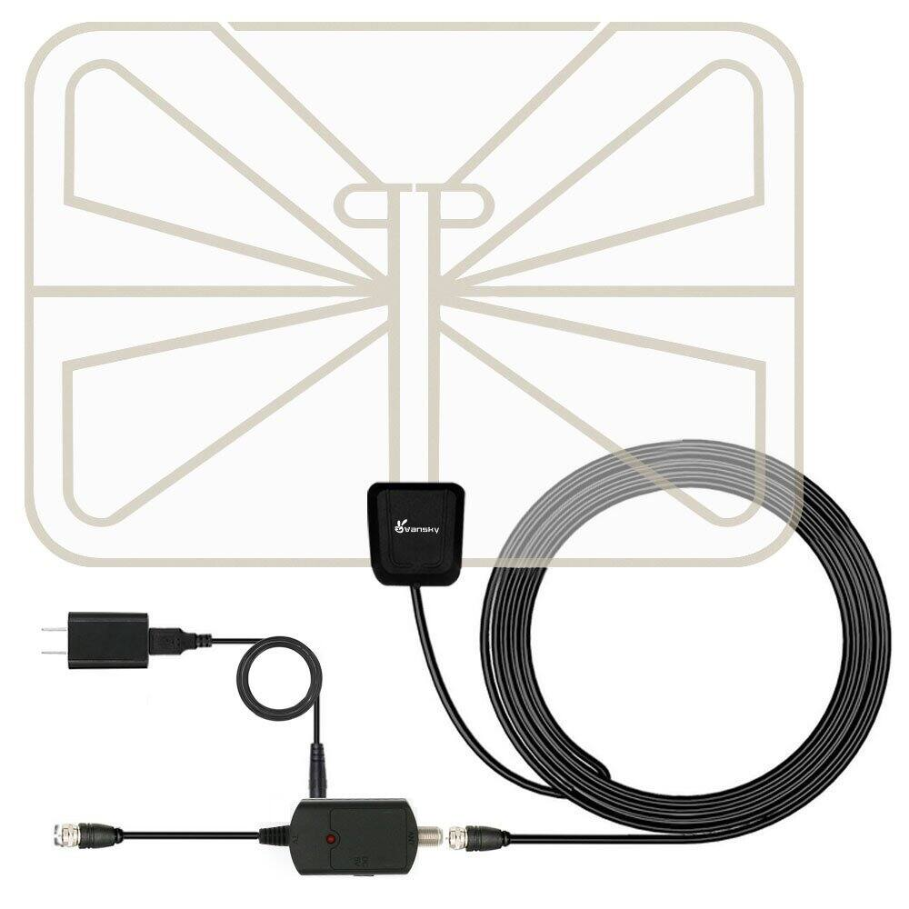 Indoor HD TV Antenna, Digital HDTV Antenna 50 Mile with Detachable Signal Booster Amplifier and 16.5FT Coax Cable $14.99
