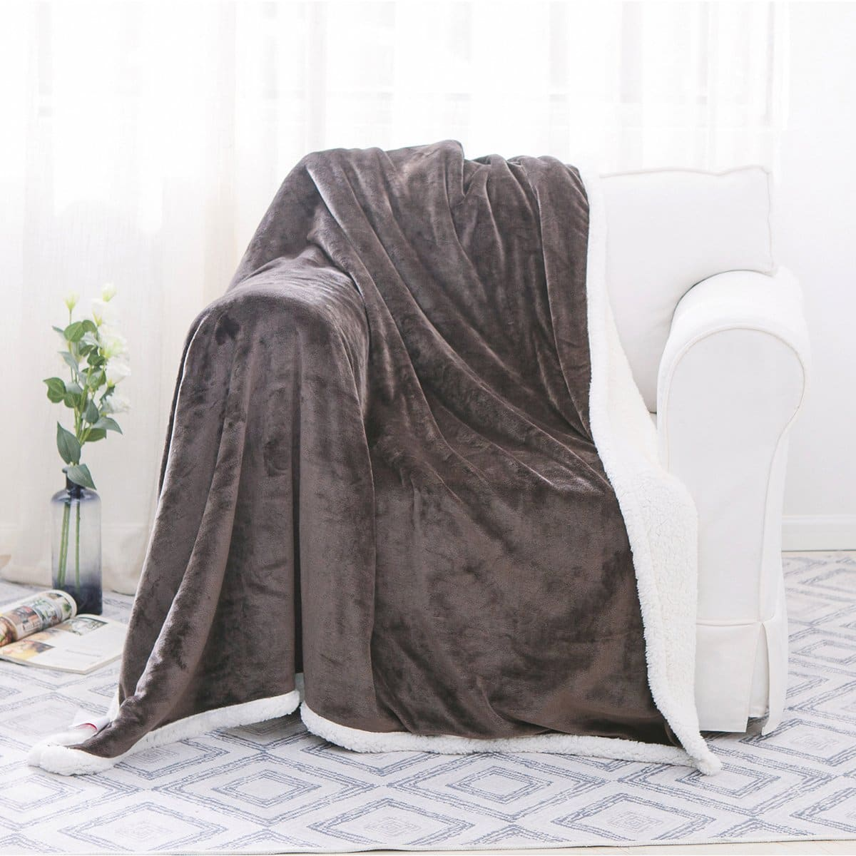 "50""x60"" Sherpa Flannel Fleece Blanket, Reversible Fleece Throw Super Soft Cozy Warm Plush Microfiber Sofa Bed Dark Gray $12.79 from Amazon"