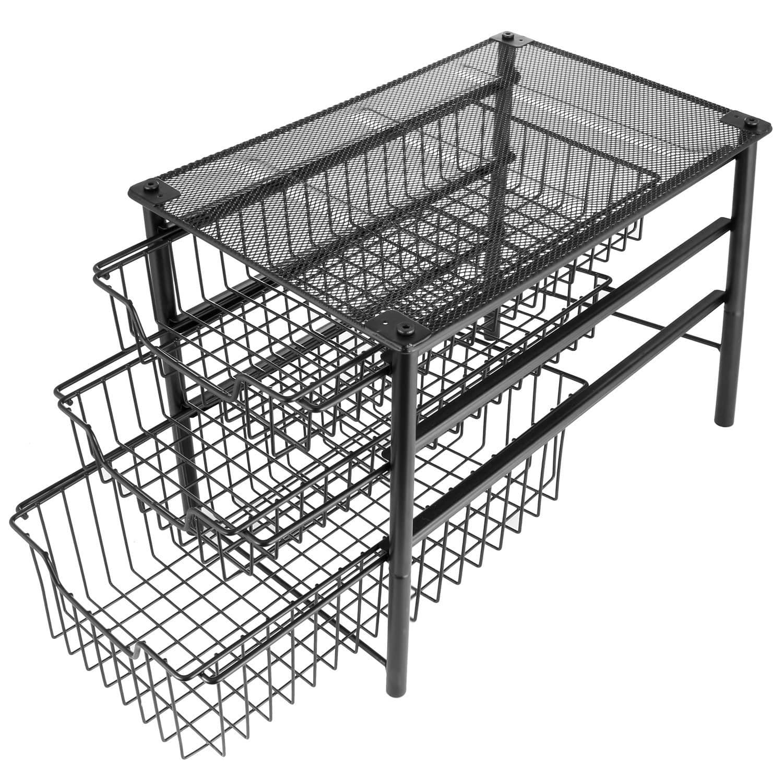 Stackable 3 Tier Sliding Basket Organizer Drawer, Cabinet Storage Drawers for $23.20