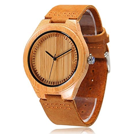 Flash Deal Only for 4 hours Men's Bamboo Wooden Watch with Brown Cowhide Leather Strap Japanese Quartz $15.99