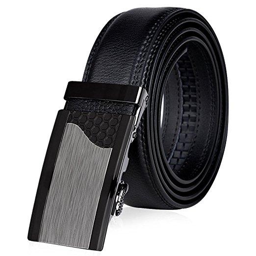 """Vbiger Men's Leather Belt Sliding Buckle Ratchet Belt 35mm Wide 1 3/8"""" for $7.98 AC from Amazon"""