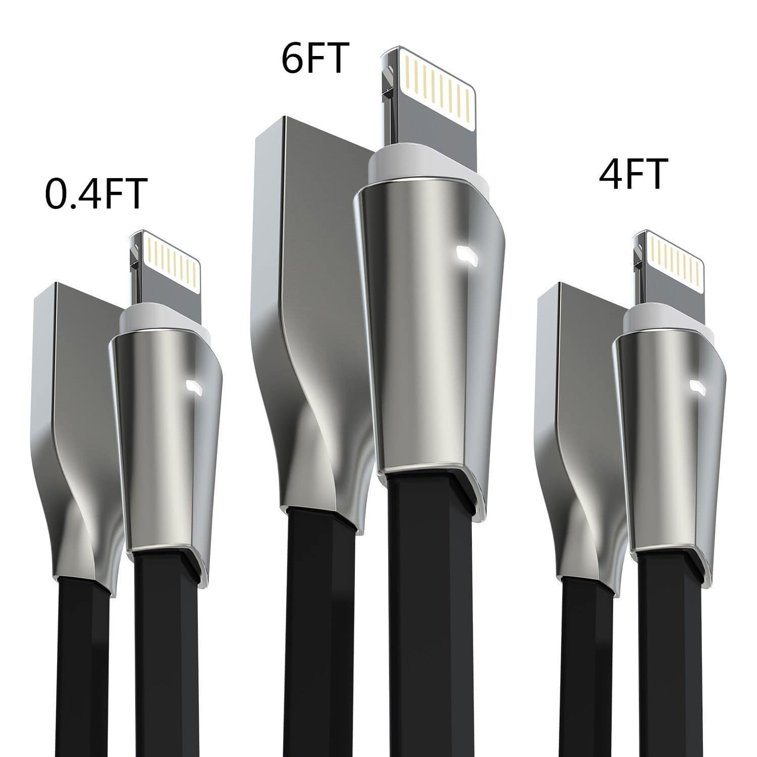 3-pk High speed lightning cable w/light Zinc alloyed usb connector iPhone/iPad/iPod for $6.60 AC from Amazon