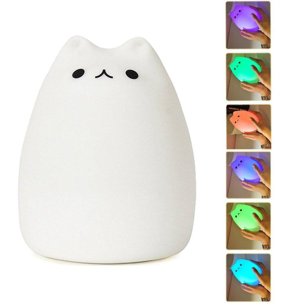 Mystery Portable Silicone LED Night Light Lamp 7-Color Breathing 3-Modes for $5.42 AC from Amazon