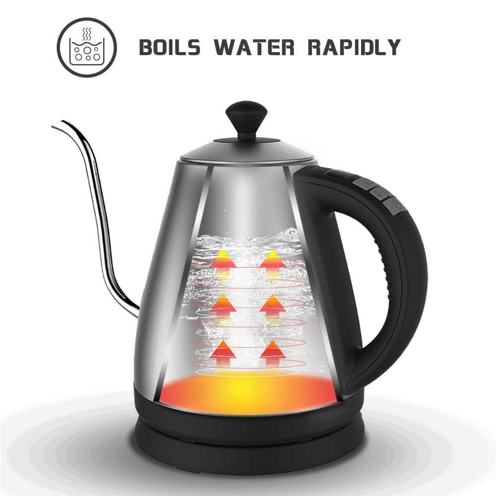 Electric Gooseneck Kettle with Preset Variable Heat Settings for Drip Coffee and Tea for $47.99 AC from Amazon