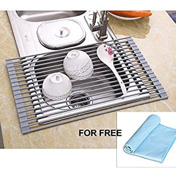 Over The Sink Multipurpose Dish Drying Rack Rust Prevention Technology w/Free Cleaning Cloth $15.99 AC @Amazon