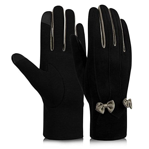 Vbiger Women Winter Touch Screen Warm Elegant Suede Gloves with Fluff and Bowknot only $4.99 AC @Amazon