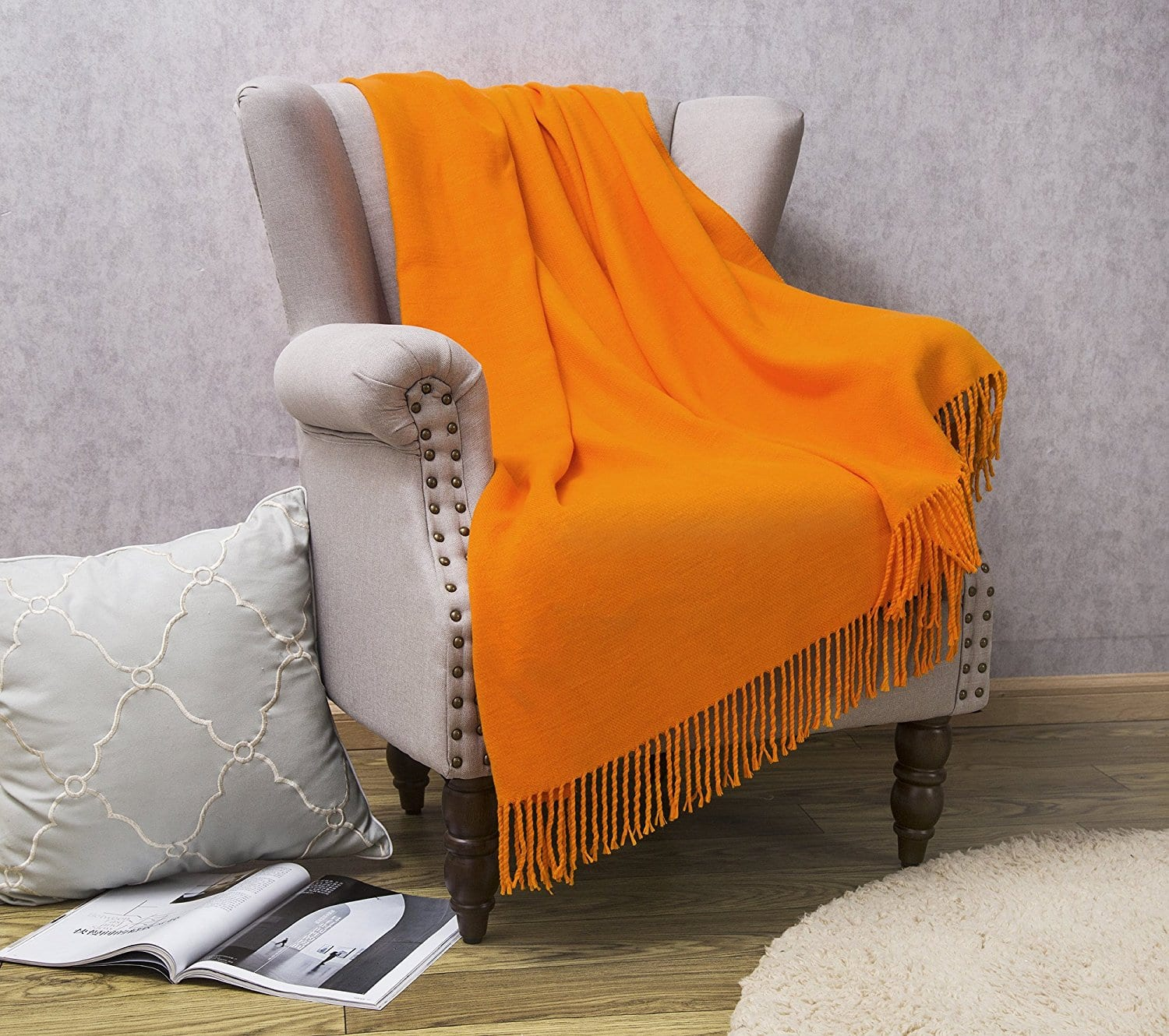 HollyHOME has All Season Throw Blanket Orange 50 x 60 Inches Luxury Soft with Tassels $8.80 AC @Amazon