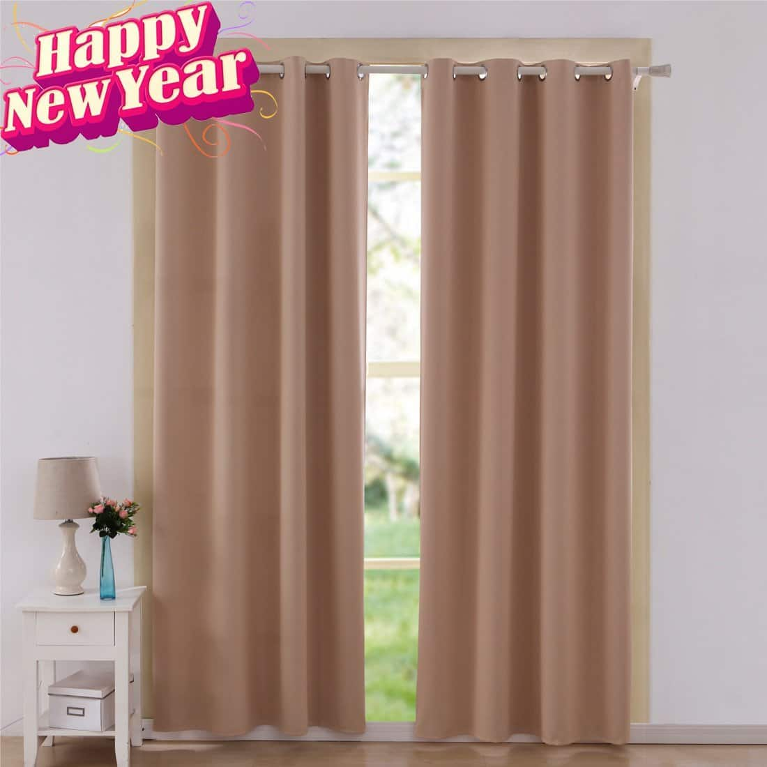 Shilucheng Thermal Insulated Blackout Curtains/Drapes 52 x 63-Inch  Beige 2 Panels $12.80 AC @Amazon