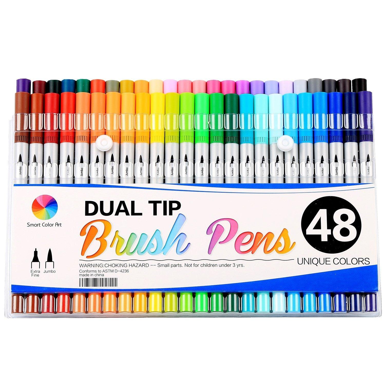 Smart Color Art Dual Tip Brush Pens with Fineliner Tip 0.4 Art Markers (48 Unique Colors) | @Amazon | $15.76