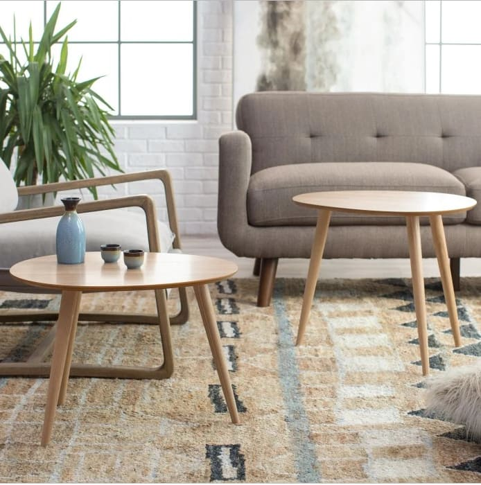 Finley Home Raymore Mid Century Modern Round Coffee Table Set $44 at Hayneedle