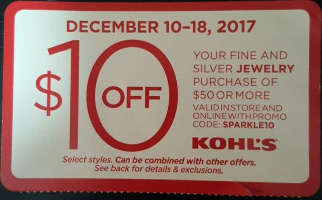 Kohl's $10 Off  $50 or more your Fine and silver Jewelry  online and in-store Dec 10- Dec 18 !