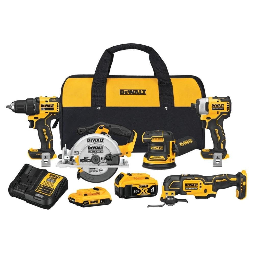$299 DEWALT 20-Volt MAX XR Lithium-Ion Cordless Combo Kit (5-Tool) with (1) 4.0Ah Battery, (1) 2.0Ah Battery, Charger & Bag-DCK560D1M1