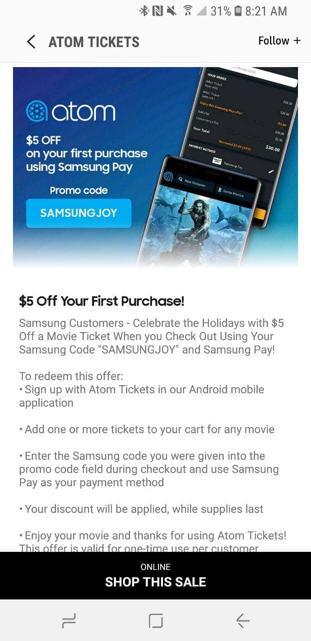$5 off for first movie tickets using Samsung Code & Samsung Pay