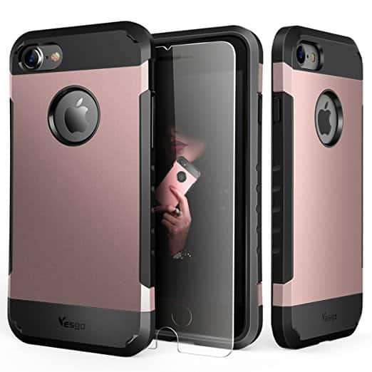 Shockproof iPhone 7 Case + Tempered Glass Screen Protector $3.49