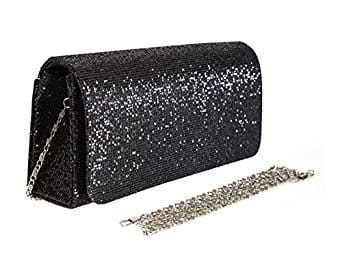 $11.96AC ECOSUSI Women Flap Dazzling Evening Bag Hard Case Clutch Handbag Purse for Women with Detachable Chain
