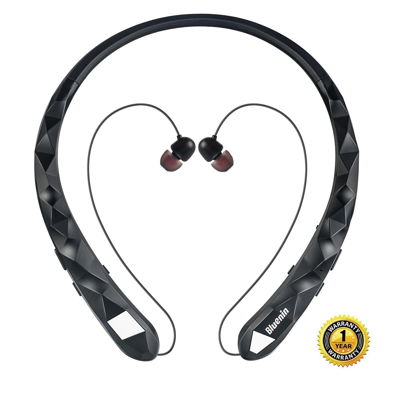 $14.88AC Amazon - Bluetooth Headphones Bluenin Wireless Headphones Neckband Retractable Earbuds Noise Cancelling Stereo Headset Sport Sweatproof Earphones with Mic