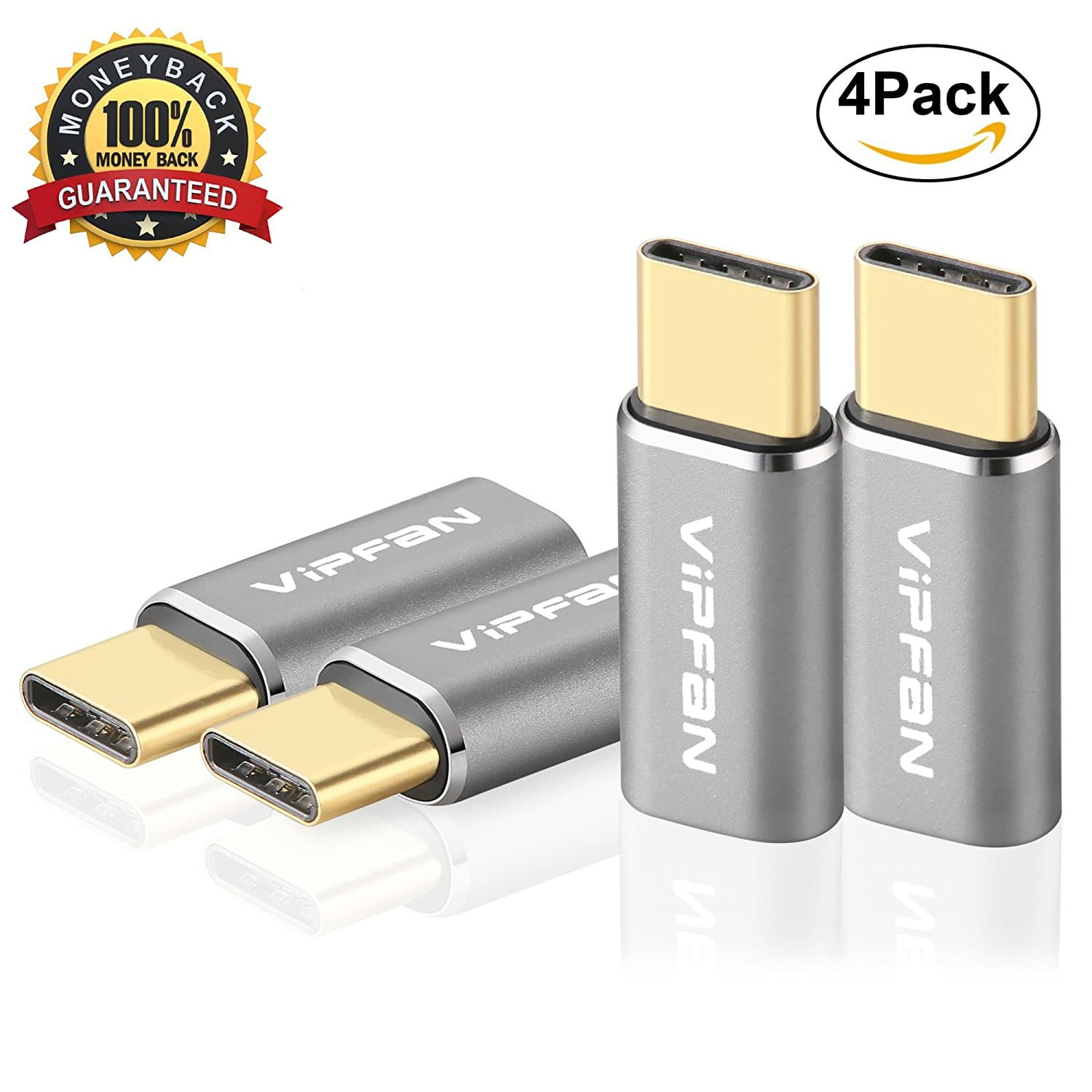 USB C adapter, VIPFAN USB-C to $4.33AC 4-PACK Micro USB Convert GOLD-PLATED Connector fast charger for MacBook Samsung Galaxy S8 Plus, Google Pixel, LG V30,G6,V20, Nintendo Switch