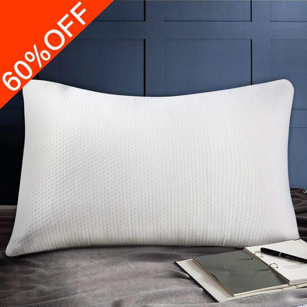 $15.99ac Shredded Memory Foam Bed Pillows, with Washable and Removable Bamboo Cover, Fully Adjustable and Hypoallergenic, Premium Bed Pillow(Queen)