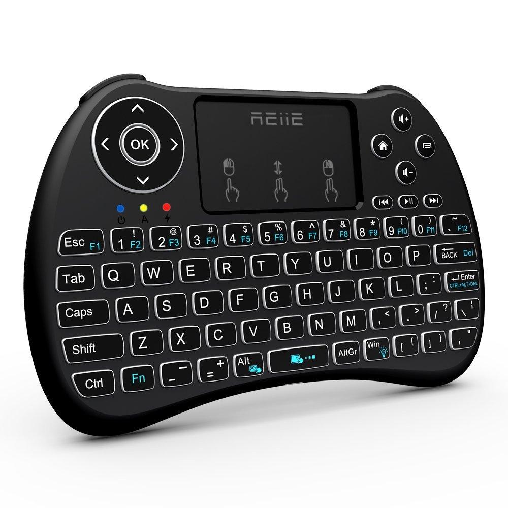 $11.89ac REIIE H9+ Backlit Wireless Mini Handheld Remote Keyboard with Touchpad Work for PC,Raspberry Pi 2, Android TV Box ,KODI, Windows 7 8 10 @ amazon