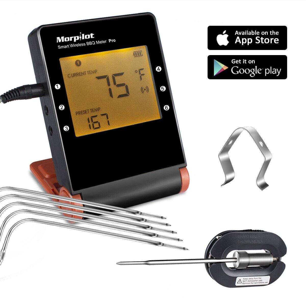 $37.79 Wireless Meat Thermometers for Grill Smoker, Morpilot Bluetooth BBQ Grill with 6 Upgraded Probes for Outdoor Grilling Smoker Oven Grid @AMAZON