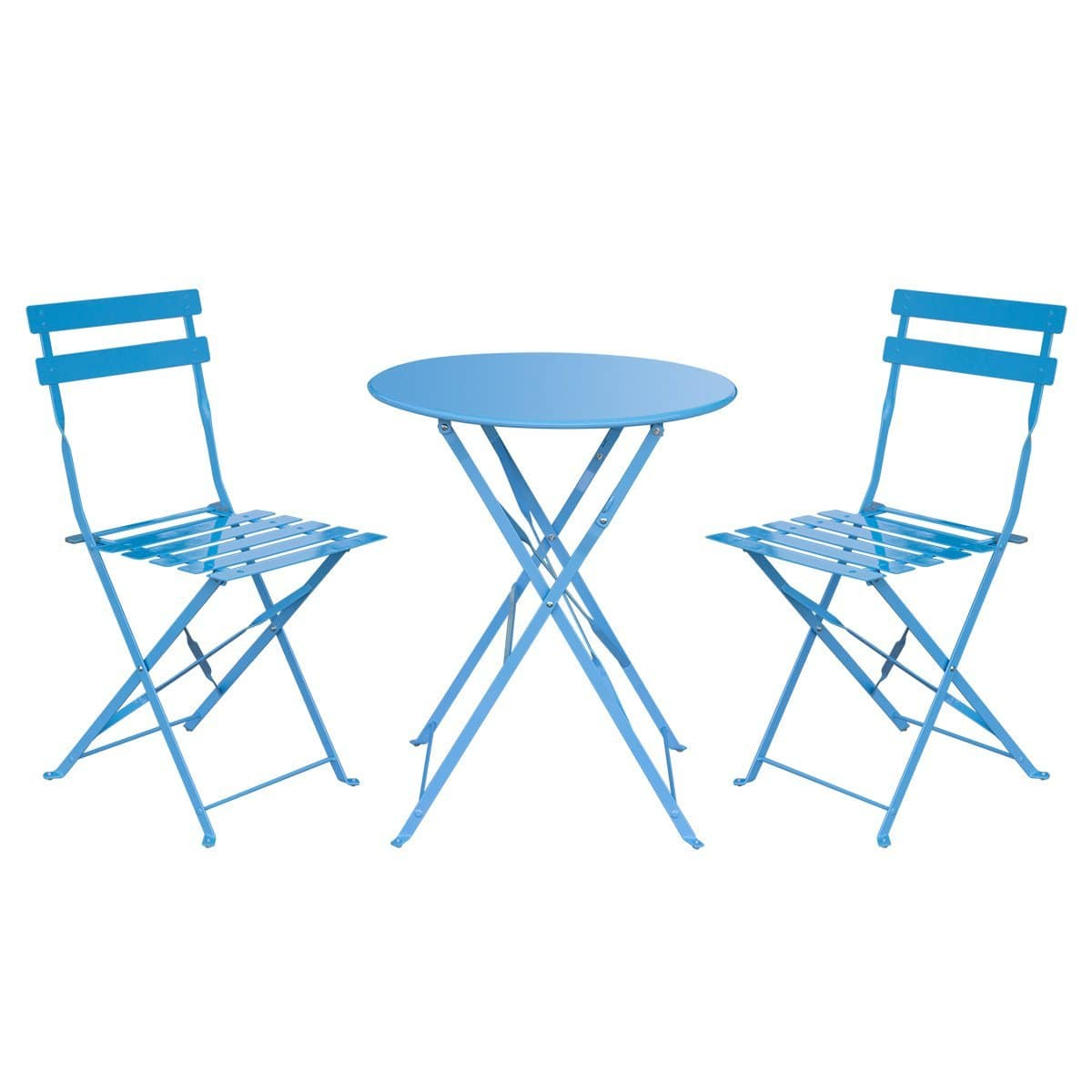 $44.99 HollyHOME Outdoor Balcony Folding Steel Bistro Furniture Sets, Patio 3-Piece of Foldable Table and Chairs, Blue @ amazon