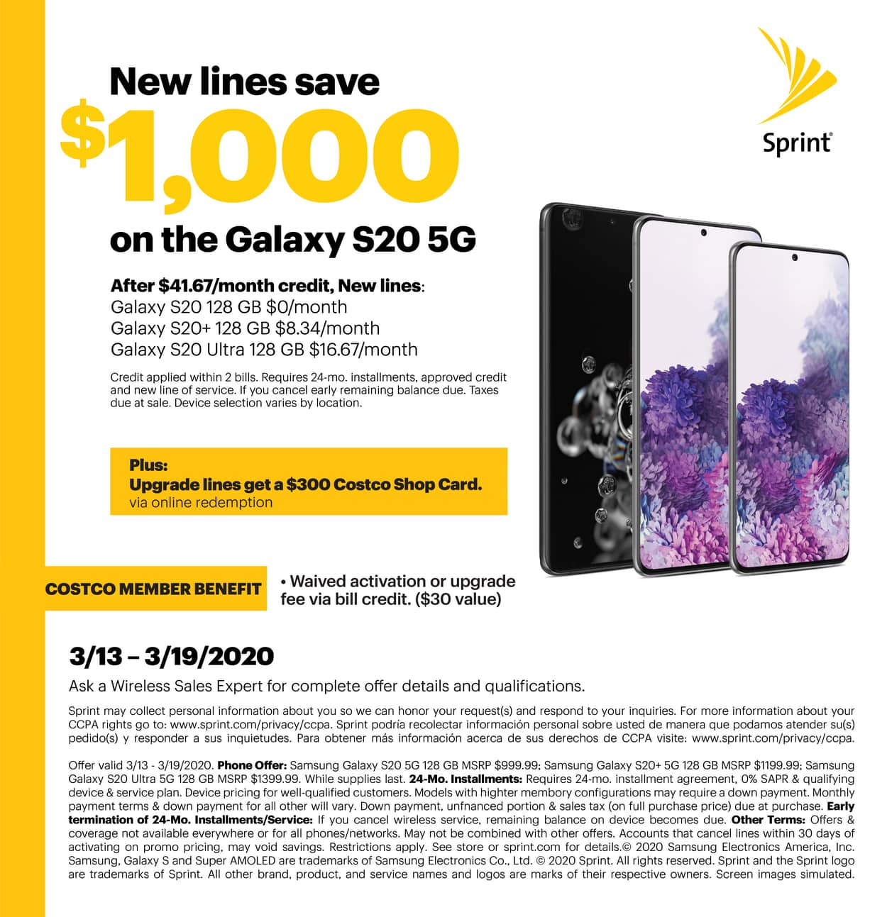 Costco Sprint - FREE Galaxy S20 with new line / $300 Costco GC with upgrade + No activation fee