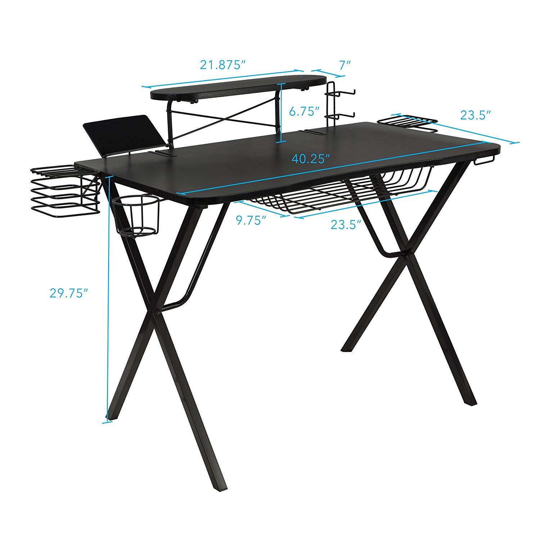 """Atlantic Gaming Original Gaming-Desk Pro - Curved-Front, 10 Games, Controller, Headphone & Speaker Storage, 40.25""""x23.5"""" Curved Front Desktop, Enhanced larger Design $107.99"""