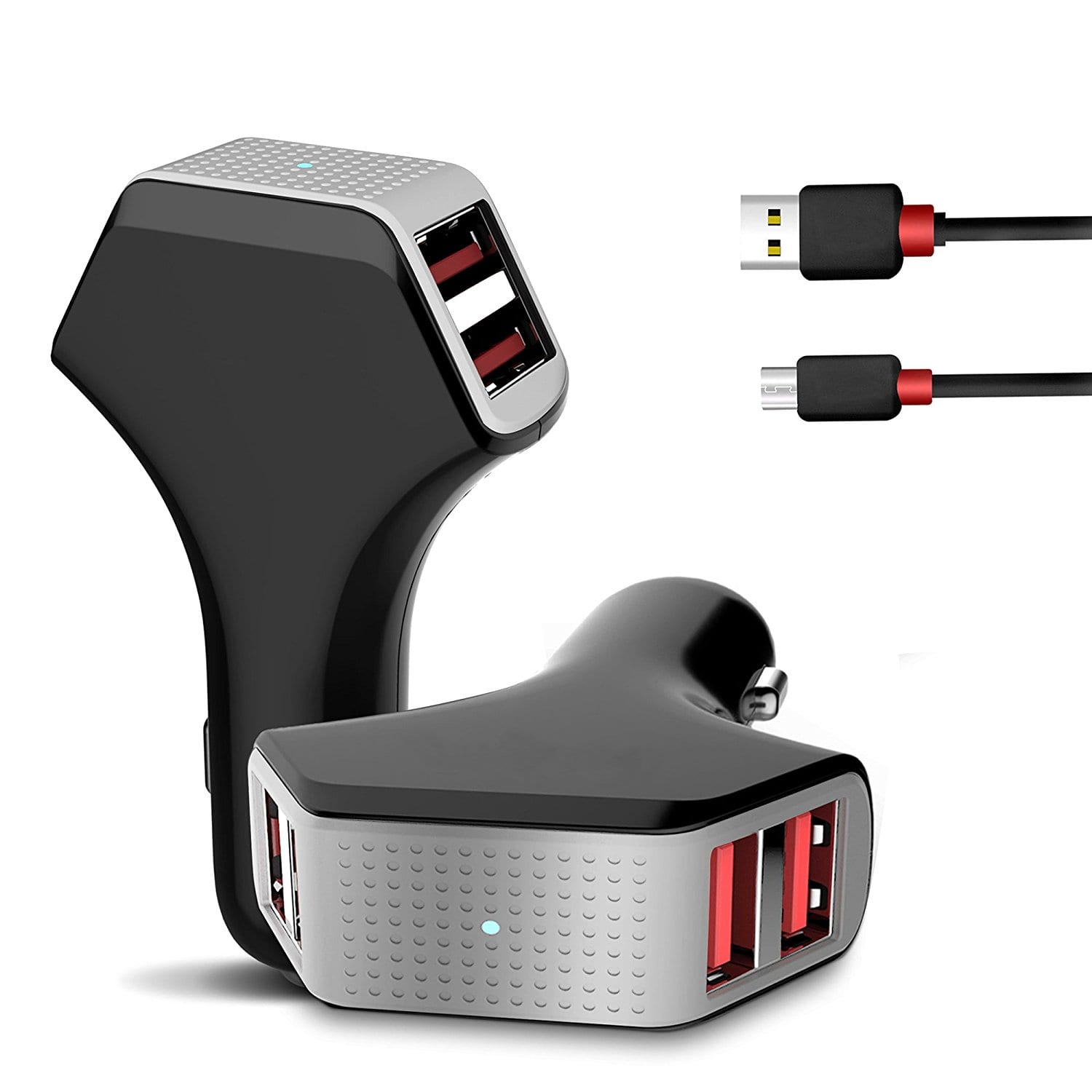 50W/10A 4-Port Fast Car Charger + 5 FT USB Micro Cable $8.80