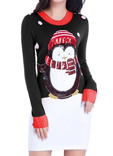 Womens Christmas Sweater Ugly Shining Penguin Knit Jumper Dress Xmas $9
