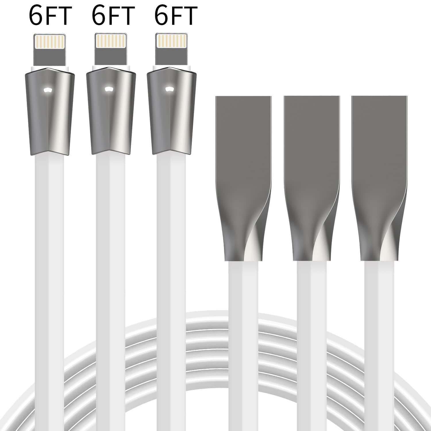 3 Pack 6FT Lightning Cable iPhone Charger  W/ LED Light Flat Lighting to USB Fast Charging Cord $6.60