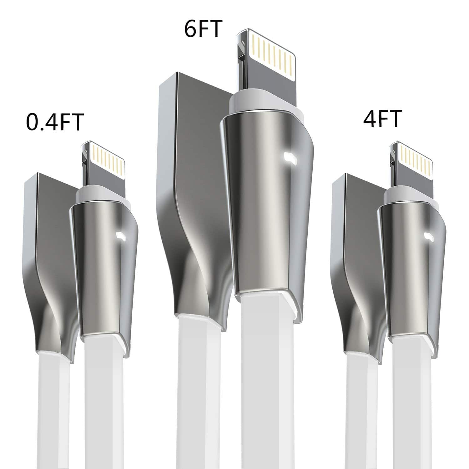 3-Pack Lightning Cable w/ LED Light [0.4FT+4FT+6FT] High Speed Charging Cord USB Zinc Alloyed Connector for iPhone $6.29