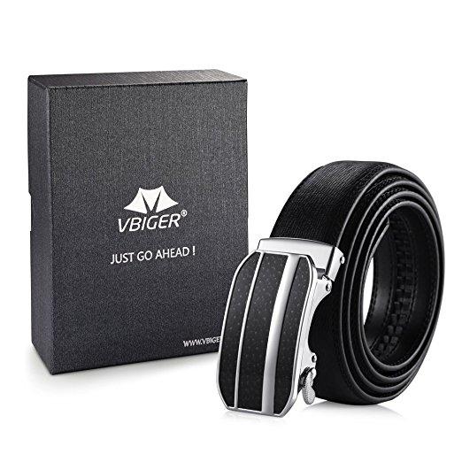 Men's Slide Automatic Leather Buckle Belt Ratchet - Black $7